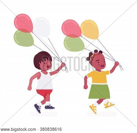 Toddler Children, Black Little Boy And Girl Enjoying Playing With Balloons. Cute Sweet Happy Healthy