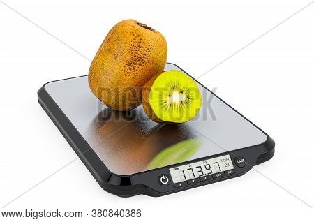 Kitchen Scales With Kiwifruits. 3d Rendering Isolated On White Background