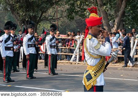 Kolkata, West Bengal, India - 26th January 2020 : Indian Army Officer Is Twisting His Moustache, Oth