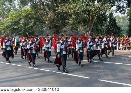 Kolkata, West Bengal, India - 26th January 2020 : Indian Army Officers Dressed As Musical Band, Play