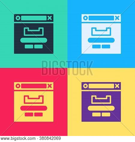 Pop Art Browser Window Icon Isolated On Color Background. Vector Illustration