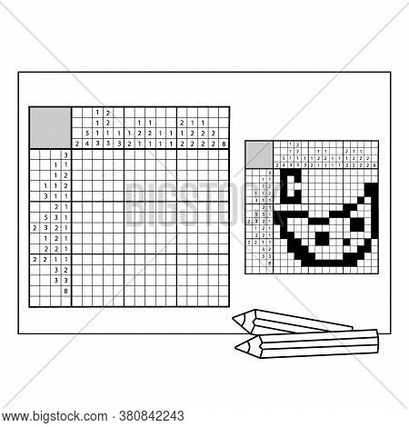 Cheese.  Black And White Japanese Crossword With Answer. Nonogram With Answer. Graphic Crossword. Pu