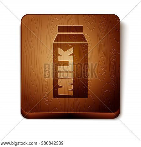 Brown Paper Package For Milk Icon Isolated On White Background. Milk Packet Sign. Wooden Square Butt