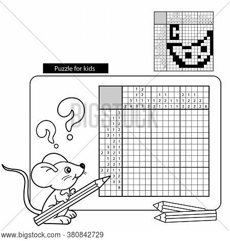 Cartoon Vector Illustration Of Education Puzzle Game For School Children.  Cheese. Black And White J