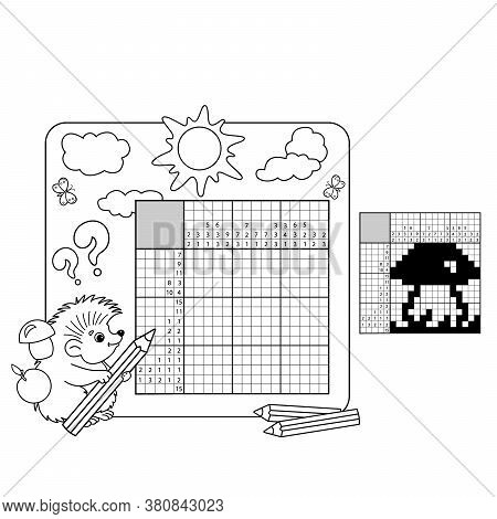 Cartoon Vector Illustration Of Education Puzzle Game For School Children.  Mushroom. Black And White