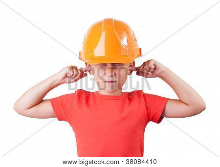 Little girl in a helmet tucked fingers in his ears poster
