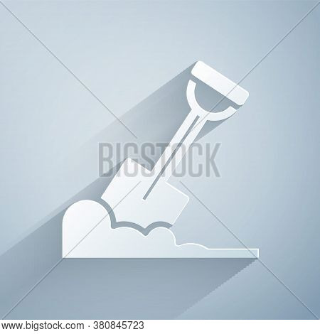 Paper Cut Shovel In The Ground Icon Isolated On Grey Background. Gardening Tool. Tool For Horticultu
