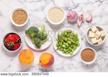 Estrogen-rich Foods, Menopause Diet. Top View. Top View.