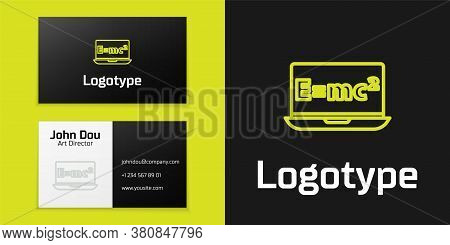 Logotype Line Math System Of Equation Solution On Laptop Icon Isolated On Black Background. E Equals