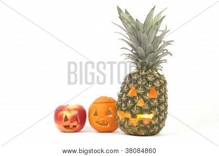 Jack-o-lanterns Made Out Of Fruits