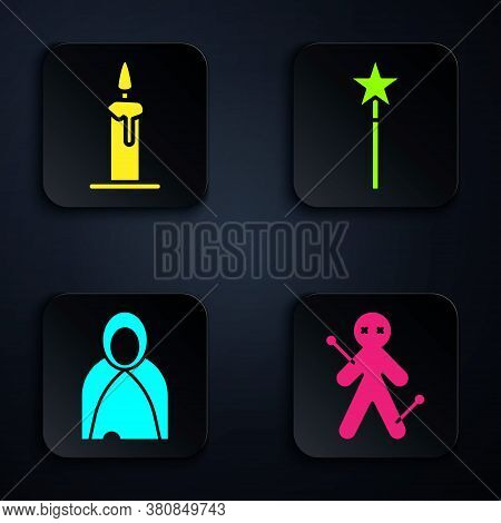 Set Voodoo Doll, Burning Candle In Candlestick, Mantle, Cloak, Cape And Magic Wand. Black Square But