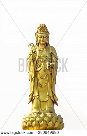 Golden Statue Of The Goddess Of Mercy  Guanyin Or Guan Yin Standing On The Lotus Isolated On White B