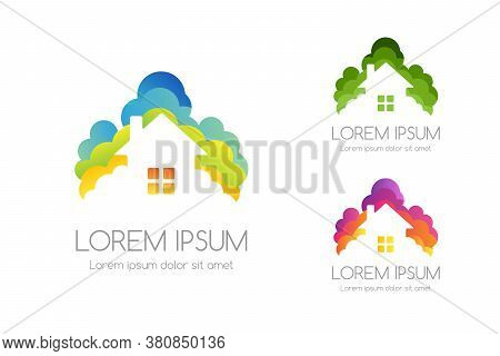 House And Trees Logo Template. Vector Illustration Of Rural Building Above Colorful Trees Silhouette