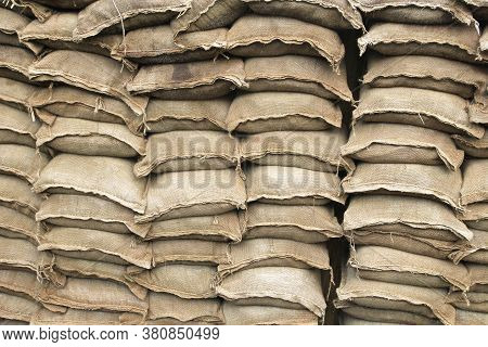 Pile Of Sand Bags Used In Trench Warfare Or As A Flood Defence