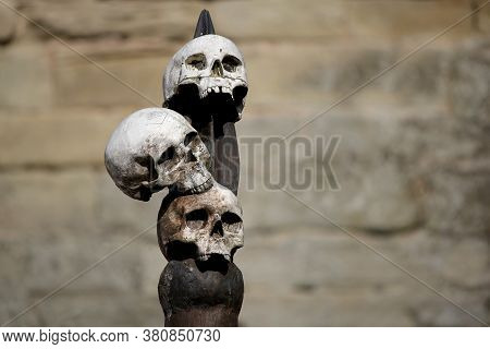 Three Human Skulls Attached To A Wooden Spike With Stone Castle Wall In Background