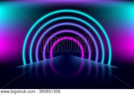 Neon Modern Background. Dark Abstract Illustration With Light Glowing Tunel Effects. Empty Futuristi