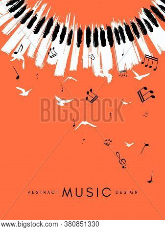 Piano Concert Poster. Music Conceptual Illustration. Abstract Style Coral Background With Hand Drawn