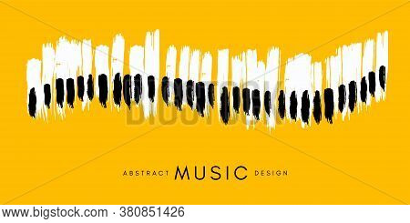 Piano Concert Poster. Music Conceptual Illustration. Abstract Style Yellow Background With Hand Draw
