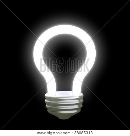Glowing light bulb 3d