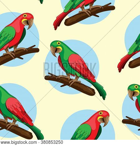 : Seamless Yellow Background With Red And Green Macaw Parrots On A Branch. Cute Hand-drawn Parrots.