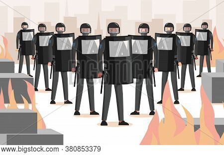 Police Officers In Uniform, With Helmets, Shields And Clubs Vector Flat Illustration. Police Workers