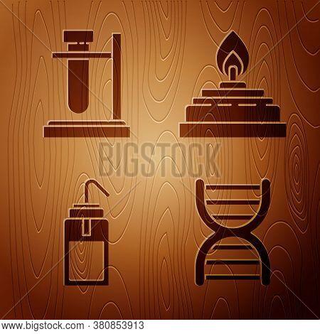 Set Dna Symbol, Test Tube Flask On Stand, Laboratory Wash Bottle And Alcohol Or Spirit Burner On Woo