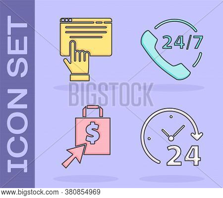 Set Clock 24 Hours, Online Shopping On Screen, Shoping Bag And Dollar And Telephone 24 Hours Support