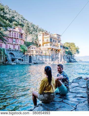 Couple On Vacation Ligurian Coast Italy, Portofino Famous Village Bay, Italy Colorful Village Liguri