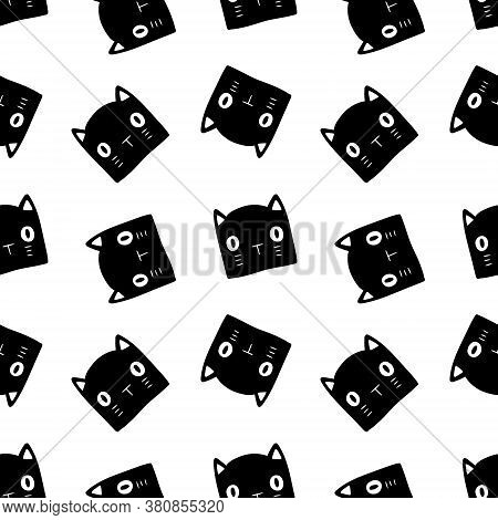Halloween Black And White Pattern With Cat Heads On White Background. Drawn By Hand Vector Doodle Bl