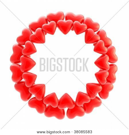 Round Photo Picture Frame Made Of Hearts Isolated