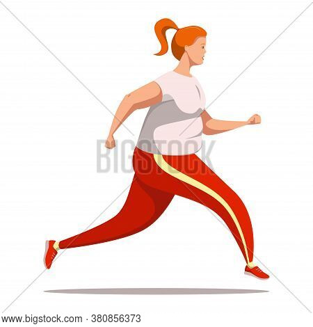 A Young Adorable Curvy Girl With Strong Will And Desire To Lose Weight Is Running. A Plump Cute Fema
