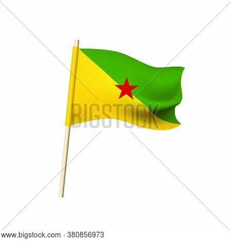 Unofficial Flag Of French Guiana. Red Star On Green And Yellow Triangles. Vector Illustration