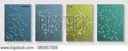 Biotechnology And Neuroscience Vector Covers With Neuron Cells Structure. Intersecting Curve Lines F