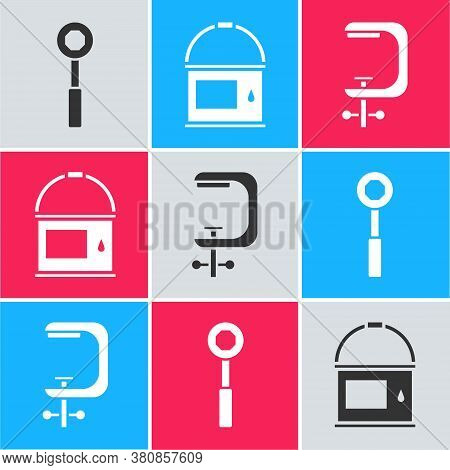 Set Wrench Spanner, Paint Bucket And Clamp And Screw Tool Icon. Vector