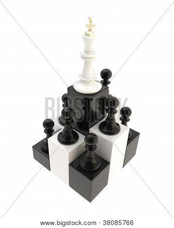 Schach-König an der Spitze unter mehrere Bauern isoliert