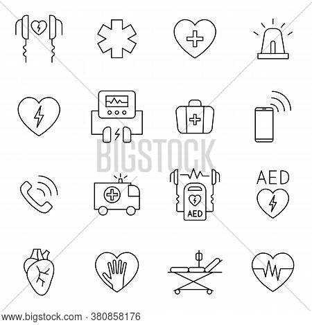 Aed, Cpr, First Aid In Cardiac Arrest Outline Icon Set. Signs In Line Style Such As Defibrillator, E