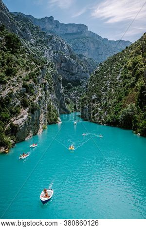 View To The Cliffy Rocks Of Verdon Gorge At Lake Of Sainte Croix, Provence, France, Near Moustiers S