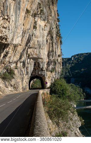 Ardeche France, View Of Narural Arch In Vallon Pont Darc In Ardeche Canyon In France