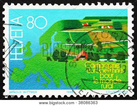 Postage Stamp Switzerland 1988 Map Of Europe