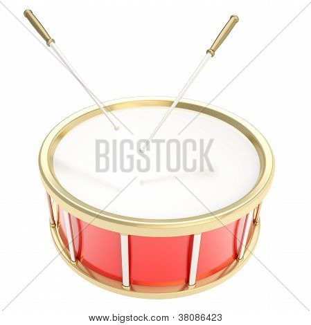 Drum Barrel With Sticks Isolated On White Background