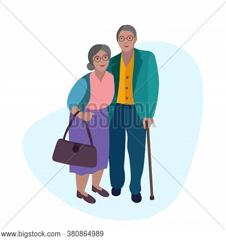 Old Couple, Senior Citizens, Portrait Poster Of Happy People. Can Use For Print Or Web