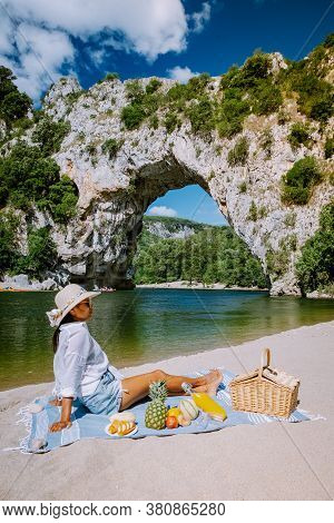 Woman On Vacation In The Ardeche France Pont D Arc, Ardeche France, View Of Narural Arch In Vallon P