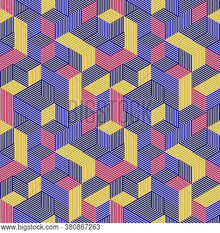 Geometric 3d Seamless Pattern With Lined Cubes, Stripy Boxes Blocks Vector Background, Architecture
