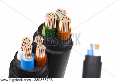 Electric Wire On White Background. Copper Wire Is The Electrical Conductor Of The City Society.