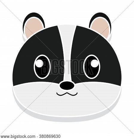 Skunk Head Cartoon. Animal Cartoon Icon - Vector