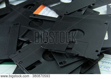 Old Black Floppy Disks Destroyed For Recycling And Security