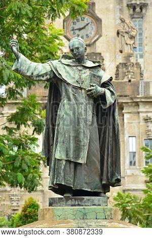 Manila, Ph - June 2 - University Of Santo Tomas Miguel De Benavides Statue On June 2, 2018 In Manila