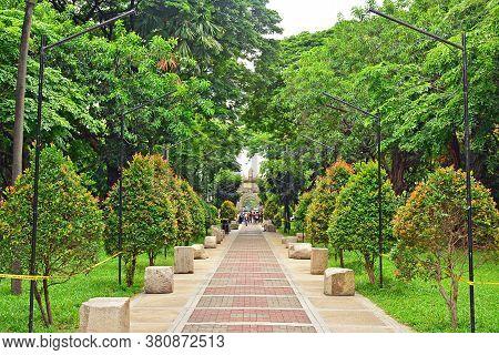 Manila, Ph - June 2 - University Of Santo Tomas Pathway To Main Building Facade On June 2, 2018 In M