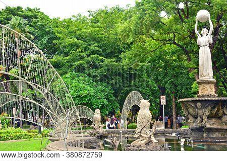 Manila, Ph - June 2 - University Of Santo Tomas Fountain Of Wisdom Statue On June 2, 2018 In Manila,