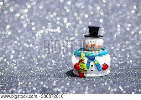 Composition With Happy Snowman In Winter Scenery With Copy Space. Merry Christmas, Happy New Year Gr